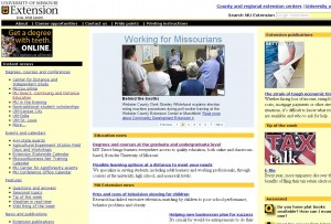 MU Extension website before usability