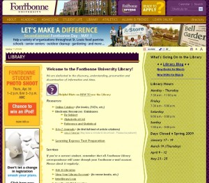 Fontbonne library website before usability