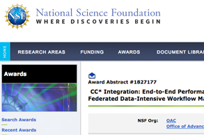 National Science Foundation website screenshot of award 1827177